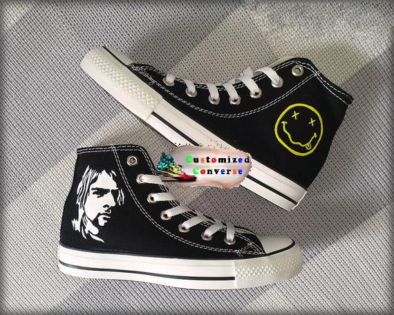 Kurt Cobain Shoes - converse shoes - custom converse - customized converse