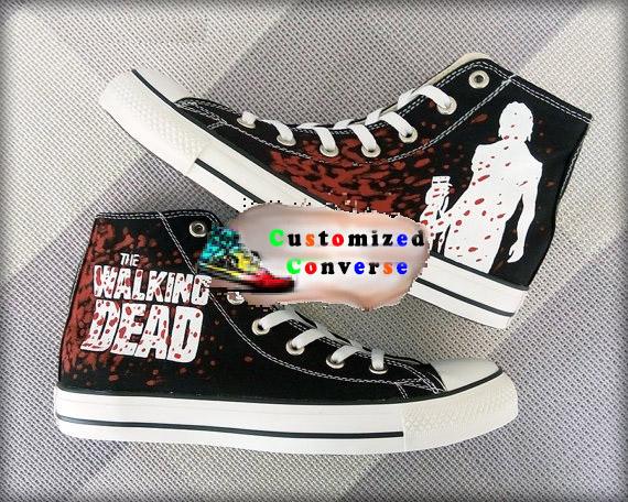 Walking Dead Shoes - converse shoes - custom converse - customized converse