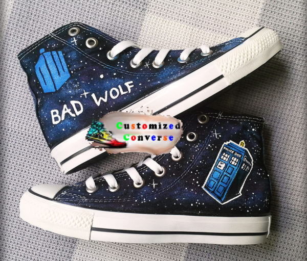 Doctor Who Bad Wolf Shoes - converse shoes - custom converse - customized converse