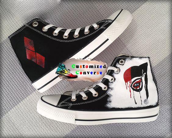 Harley Quinn Shoes - converse shoes - custom converse - customized converse