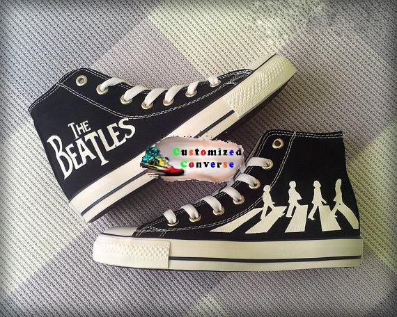 Beatles Shoes - converse shoes - custom converse - customized converse