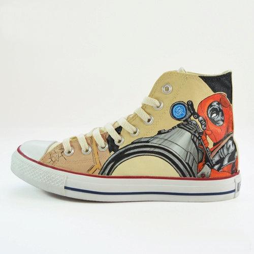 Deadpool Shoes - converse shoes - custom converse - customized converse