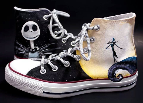 Jack Skellington Shoes 2 - converse shoes - custom converse - customized converse