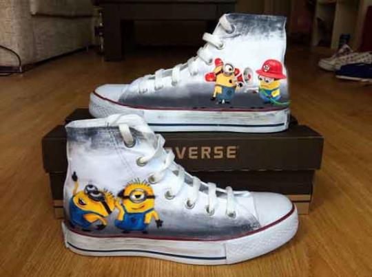 Fireman Minion Shoes - converse shoes - custom converse - customized converse - converse shoes - custom converse - customized converse