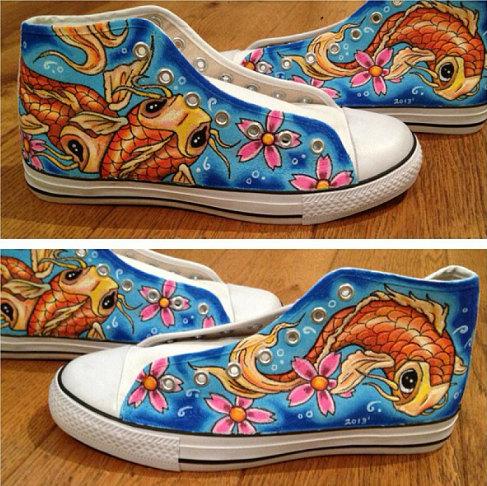 Koi Fish Shoes - converse shoes - custom converse - customized converse