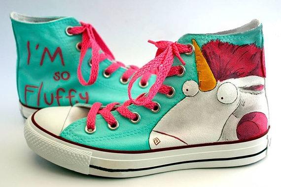 Fluffy Unicorn Shoes - converse shoes - custom converse - customized converse