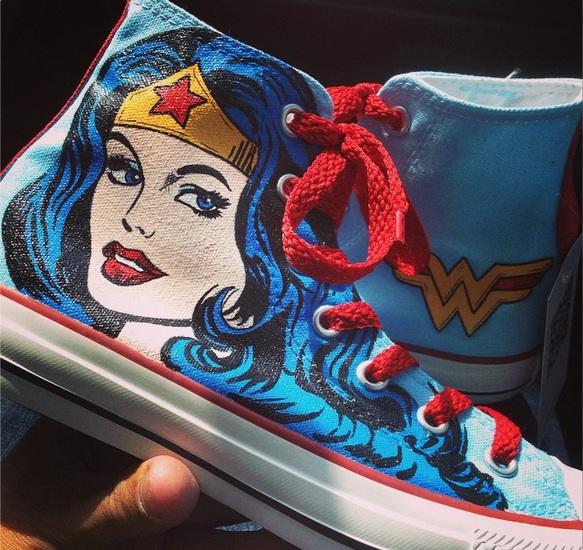 Wonder Woman Shoes - converse shoes - custom converse - customized converse