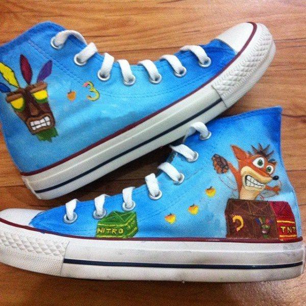 Crash Bandicoot Shoes - converse shoes - custom converse - customized converse